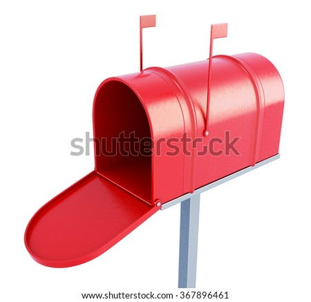 Mail box at the front on a white background. 3d rendering. - stock photo