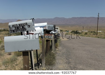 "Mail boxes on the route 66 in Arizona - western USA - Room for ""your address"" - stock photo"