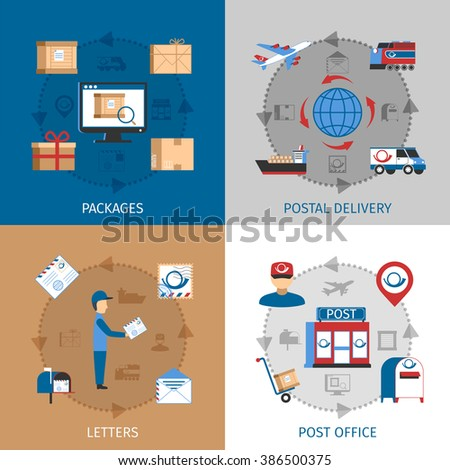 Mail Concept Icons Set  - stock photo