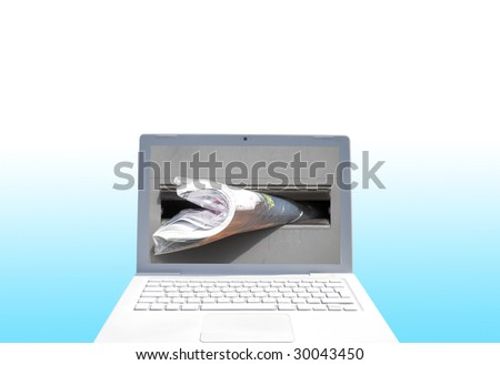 Mail concept showing laptop computer with letter box