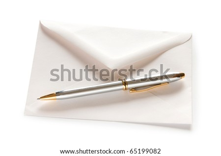 Mail concept with envelope isolated on the white - stock photo