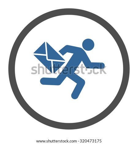 Mail courier glyph icon. This rounded flat symbol is drawn with cobalt and gray colors on a white background. - stock photo