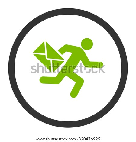 Mail courier glyph icon. This rounded flat symbol is drawn with eco green and gray colors on a white background. - stock photo