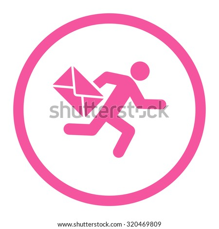 Mail courier glyph icon. This rounded flat symbol is drawn with pink color on a white background. - stock photo