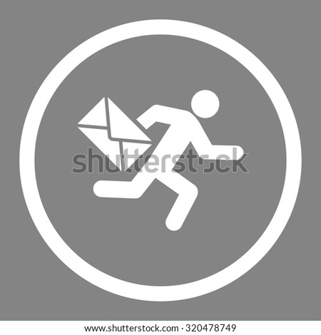 Mail courier glyph icon. This rounded flat symbol is drawn with white color on a gray background. - stock photo