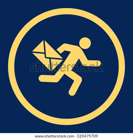 Mail courier glyph icon. This rounded flat symbol is drawn with yellow color on a blue background. - stock photo