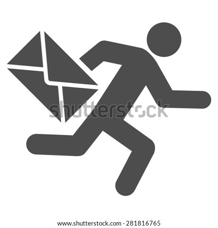 Mail courier icon from Man Poses Set. Style: monochrome gray icons, rounded corners, white background. - stock photo