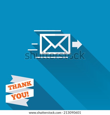 Mail delivery icon. Envelope symbol. Message sign. Mail navigation button. White flat icon with long shadow. Paper ribbon label with Thank you text. - stock photo