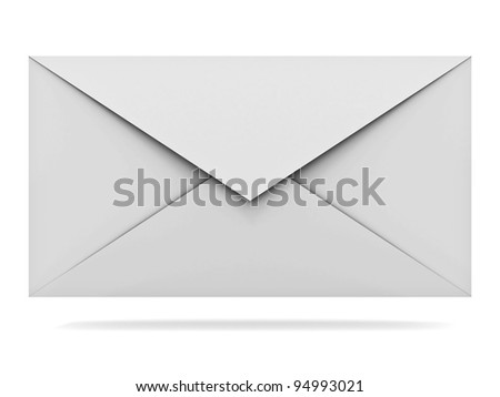 Mail envelope isolated on white background with shadow - stock photo