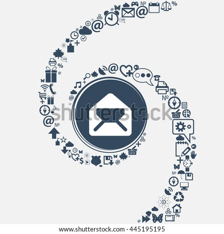 Mail, envelope, letter icon sign in the center. Around the many beautiful symbols twisted in a spiral. You can use each separately for your design. illustration - stock photo