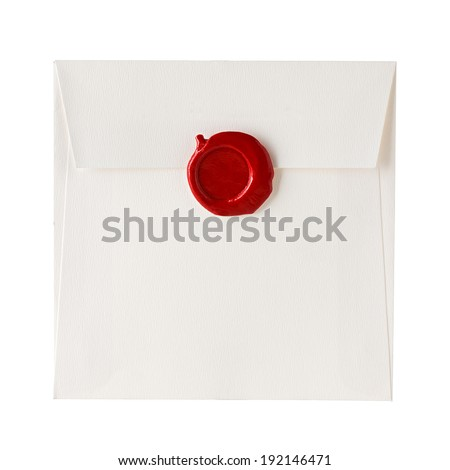 mail envelope or letter sealed with wax seal stamp isolated on white - stock photo