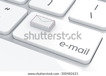 Mail envelopes on the computer keyboard. Email concept - stock photo