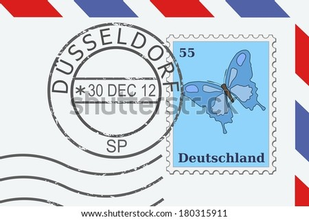 Mail from Germany - postage stamp and post mark from Dusseldorf. German letter. - stock photo