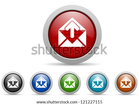 mail glossy icons set on white background
