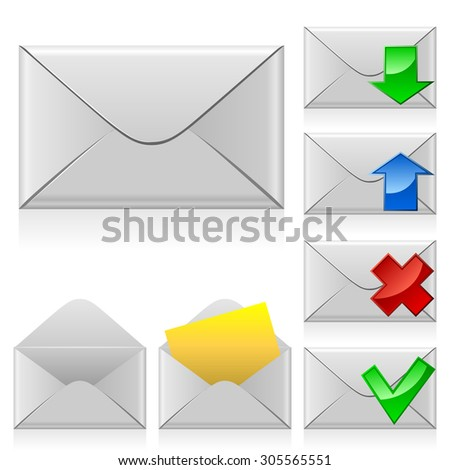 Mail icons. Closed and opened envelope with different signs. - stock photo