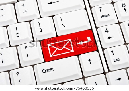 Mail in place of enter key - stock photo
