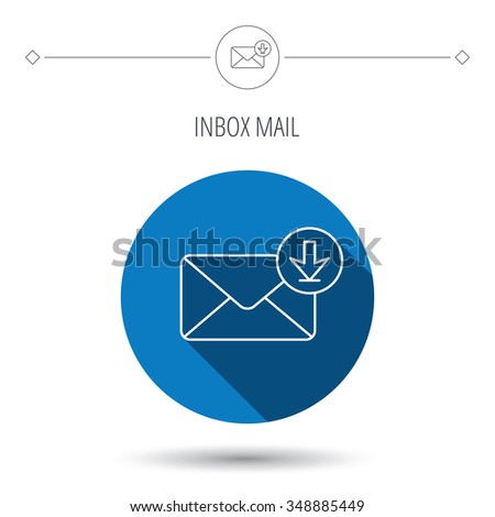Mail inbox icon. Email message sign. Download arrow symbol. Blue flat circle button. Linear icon with shadow.  - stock photo