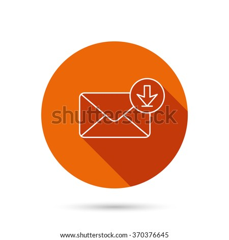 Mail inbox icon. Email message sign. Download arrow symbol. Round orange web button with shadow. - stock photo