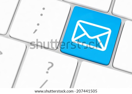 Mail keyboard button on grey keyboard - stock photo