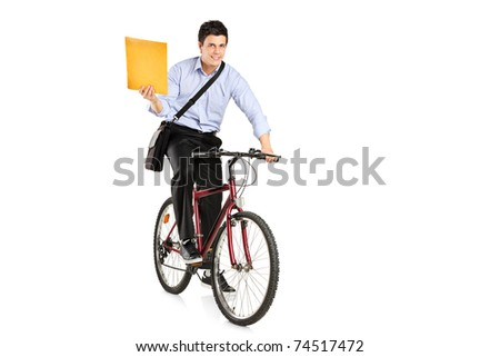 Mail man on a bicycle bringing mail isolated on white background - stock photo