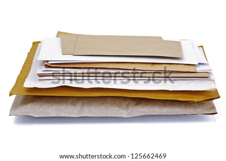 Mail or post concept envelopes, letters,  bills and packages - stock photo