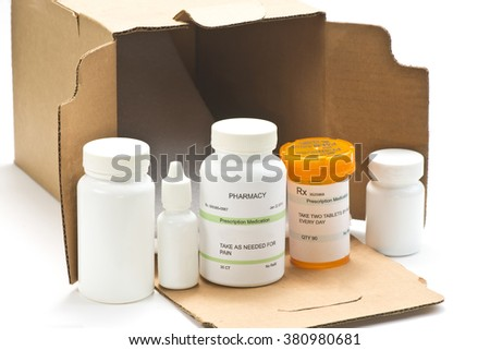 Mail order medications.  Serial numbers, dates are completely random numbers, labels are fictitious and created by the photographer. - stock photo