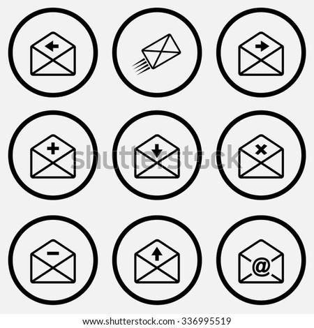 Mail set. Black and white set raster icons. - stock photo