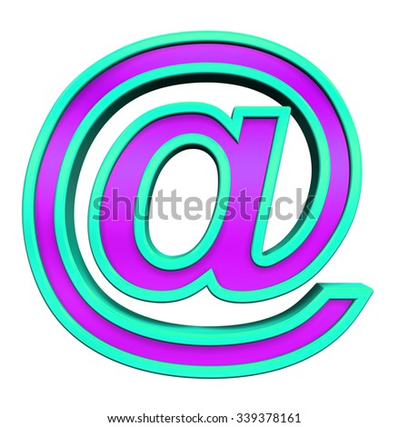Mail sign from purple glass with blue frame alphabet set, isolated on white. Computer generated 3D photo rendering.