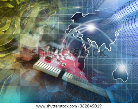 Mail signs, device and map - abstract computer background. - stock photo