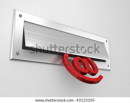 Mail slot in a door with an ampersand symbol entering - stock photo