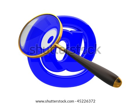 mail symbol with magnifier on white background