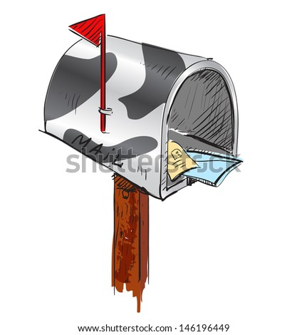 Mailbox cartoon icon - stock photo