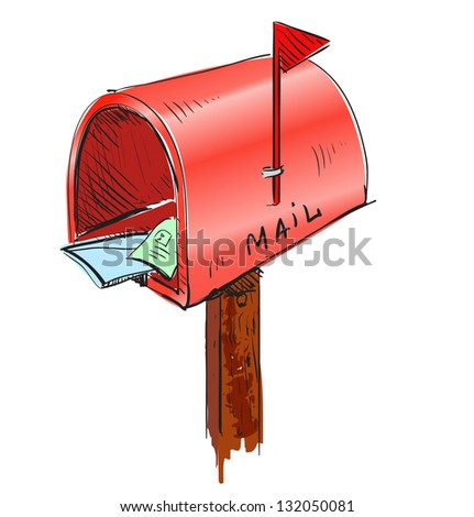 Mailbox cartoon icon. Sketch fast pencil hand drawing illustration in funny doodle style - stock photo