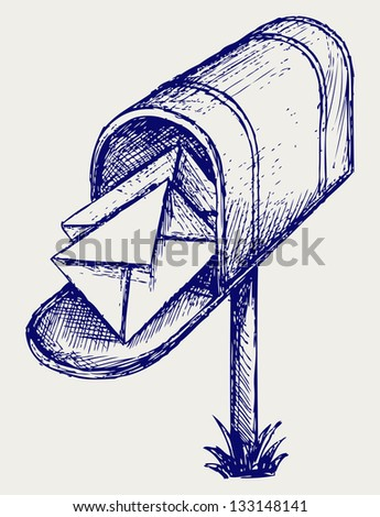 Mailbox. Doodle style. Raster version - stock photo