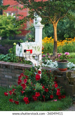 mailbox in garden - stock photo