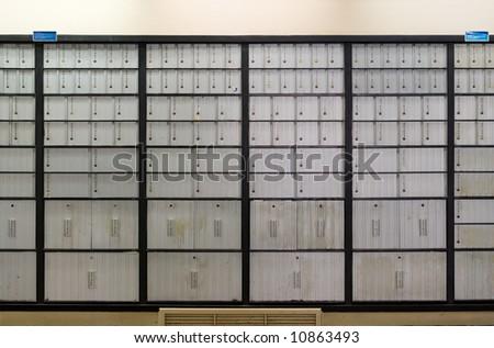 Mailbox lobby at post office. - stock photo
