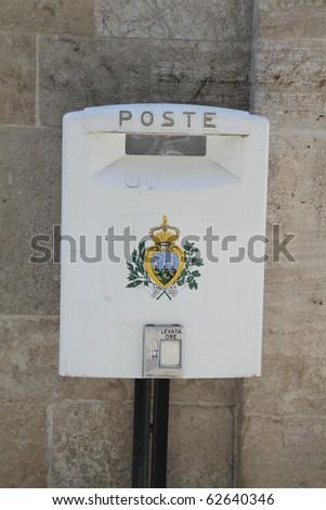 mailbox of the tiny republic of San Marino - stock photo