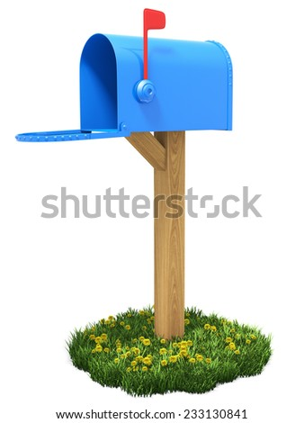 Mailbox on the grass.