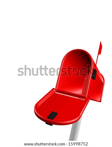 mailbox red on white background