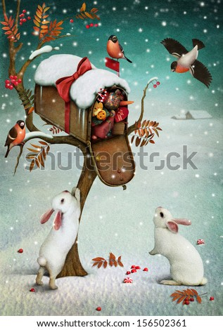 Mailbox with Christmas gifts in  winter forest. Fabulous illustration or  greeting card with  Christmas. Computer graphics. - stock photo