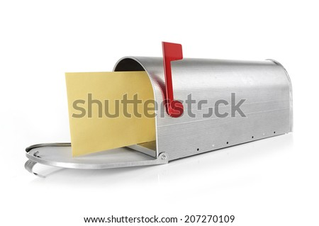 Mailbox with envelope Mailbox full with envelope, white background - stock photo
