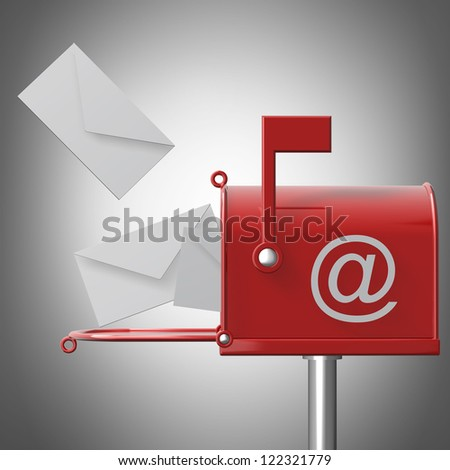 Mailbox with flying leters. High resolution 3d render - stock photo