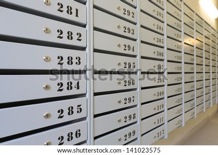 Mailboxes in apartment buildings - stock photo