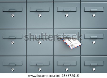 Mailboxes. In one of the mailbox received a letter - stock photo