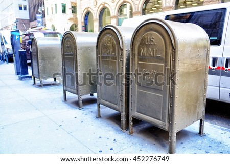 Mailboxes on a street in Manhattan