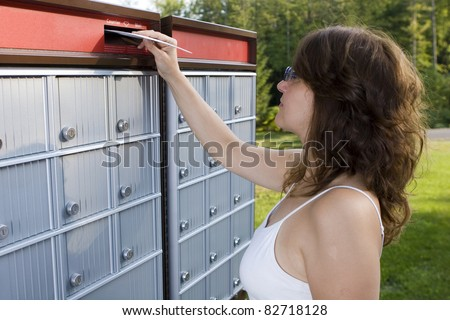 Mailing a letter - stock photo