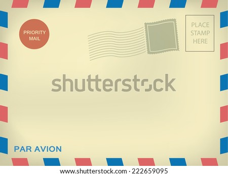 Mailing enveloper par avion-air mail template with blank stamps on aged textured paper
