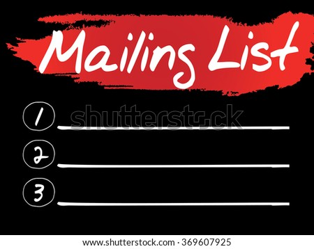 Mailing List Blank List concept background - stock photo
