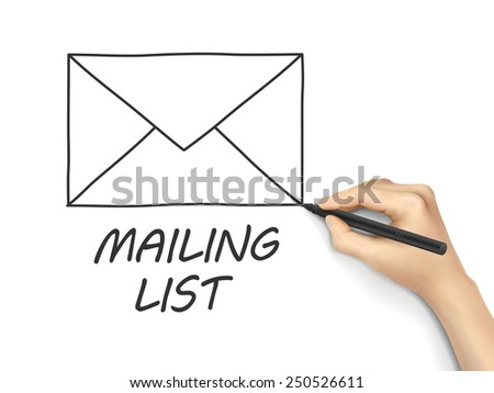 mailing list drawn by hand isolated on white background - stock photo