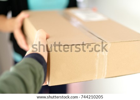 Mailman delivering a parcel at a womans flat